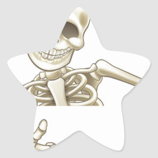 Thumbs Up Cartoon Halloween Skeleton Star Sticker