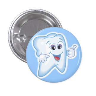Thumbs up for dental hygiene! 1 inch round button