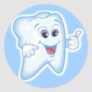 Thumbs up for dental hygiene! classic round sticker