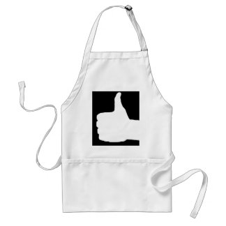Thumbs Up Gesture, Black Back Adult Apron
