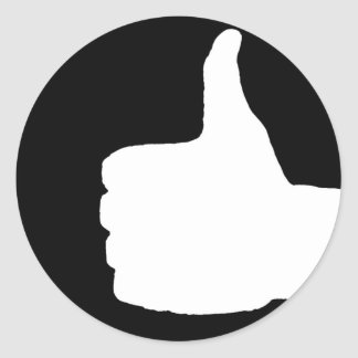 Thumbs Up Gesture, Black Back Classic Round Sticker