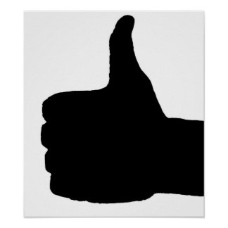 Thumbs Up Gesture, White Back Poster