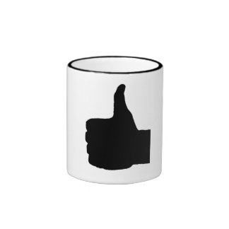 Thumbs Up Gesture, White Back Ringer Mug
