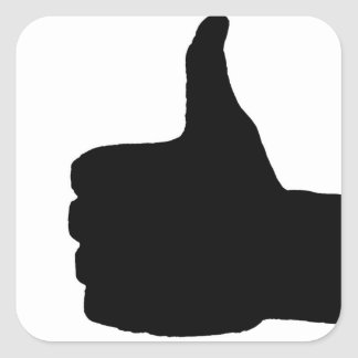 Thumbs Up Gesture, White Back Square Sticker