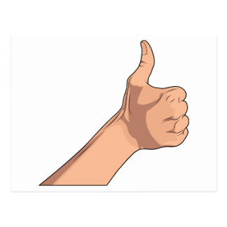 Thumbs Up / Hitchhiking Hand Sign Gesture 2 Post Cards