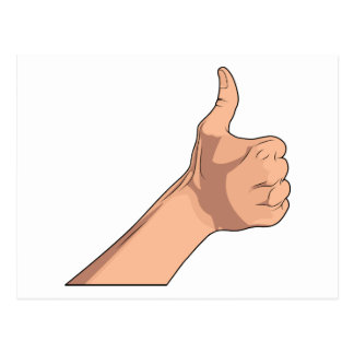 Thumbs Up / Hitchhiking Hand Sign Gesture 2 Postcard