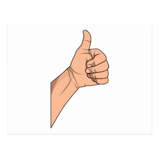 Thumbs Up / Hitchhiking Hand Sign Gesture Postcard