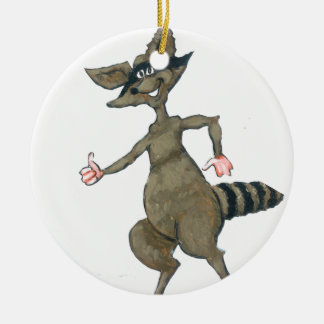 Thumbs Up Raccoon Ceramic Ornament