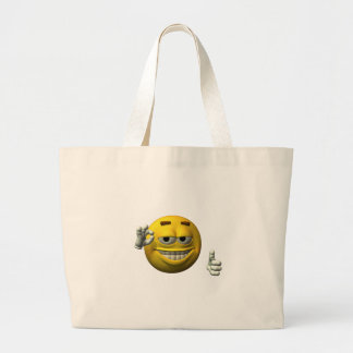 Thumbs Up Smiley Face character Large Tote Bag