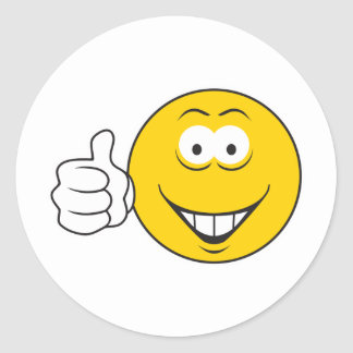 Thumbs Up Smiley Face Classic Round Sticker
