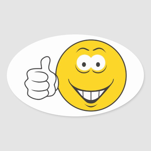 Thumbs Up Smiley Face Oval Sticker