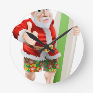 Thumbs up surfing Santa Claus Clock