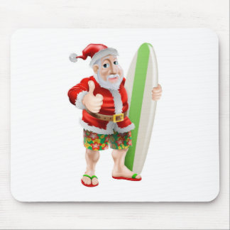 Thumbs up surfing Santa Claus Mousemat