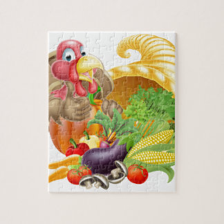 Thumbs Up Turkey and Cornucopia Jigsaw Puzzle