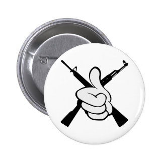 Thumbs Up W Crossed Rifles Pinback Button