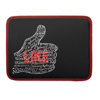 Thumbs up with LIKE text design Sleeve For MacBooks