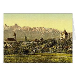 Thun iglesia y castillo con la vista de Stockhor Felicitaciones