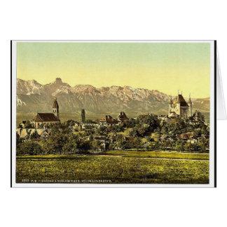 Thun iglesia y castillo con la vista de Stockhor Tarjetón