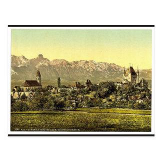 Thun iglesia y castillo con la vista de Stockhor Postal