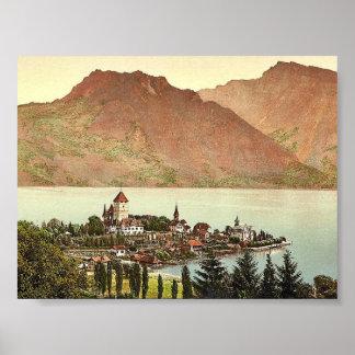 Thun, lago de, Spiez, Bernese Oberland, Switzerlan Póster