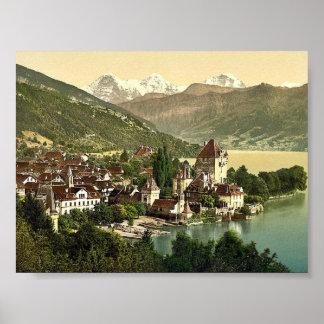 Thun, Oberhofen, Bernese Oberland, cla de Suiza Póster