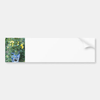 Thunbergia Black Eyed Susan Vine Blue white pot Bumper Sticker
