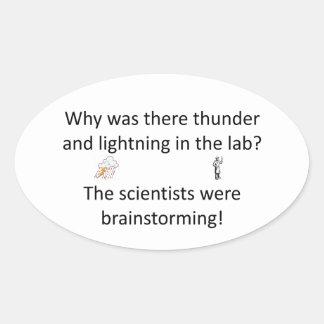 Thunder and Lightning Joke Oval Sticker