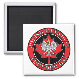 Thunder Bay Round Polish Canadian Leaf 2 Inch Square Magnet