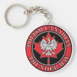 Thunder Bay Round Polish Canadian Leaf Basic Round Button Keychain