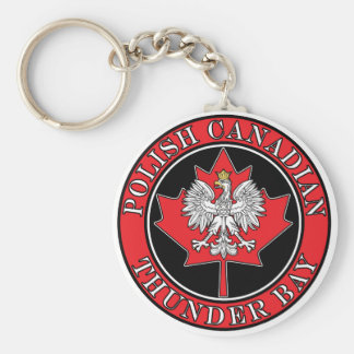 Thunder Bay Round Polish Canadian Leaf Keychain