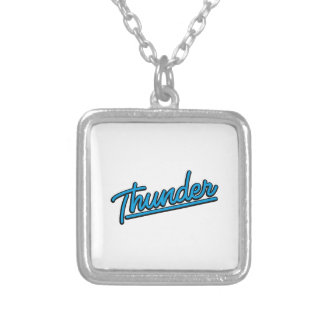 Thunder in cyan personalized necklace