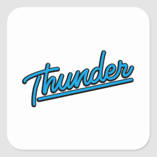 Thunder in cyan square sticker