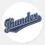 Thunder in Dark Blue Classic Round Sticker