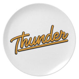 Thunder in orange plate