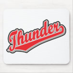Thunder in Red and Gray Mouse Pads