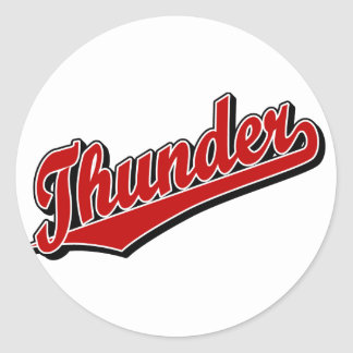 Thunder in Red Classic Round Sticker