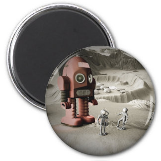Thunder Robot and Toy Spacemen Retro Styled Magnet