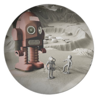 Thunder Robot and Toy Spacemen Retro Styled Melamine Plate