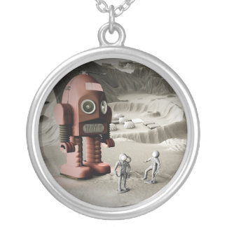 Thunder Robot and Toy Spacemen Retro Styled Neckla Silver Plated Necklace