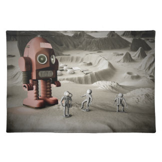 Thunder Robot and Toy Spacemen Retro Styled Placemat