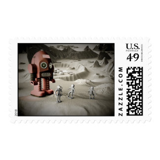Thunder Robot and Toy Spacemen Retro Styled Postag Postage Stamps