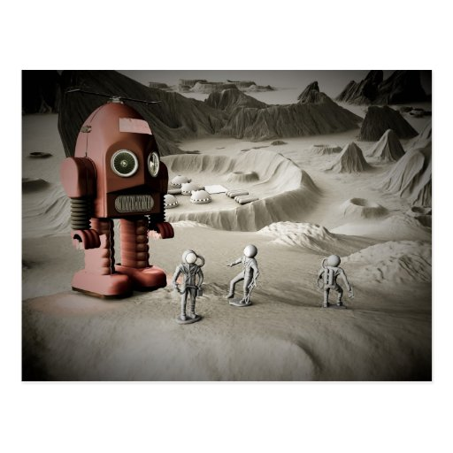 Thunder Robot and Toy Spacemen Retro Styled Postca Post Cards