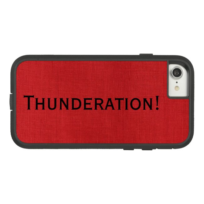 Thunderation! bold black text on Red Linen Photo
