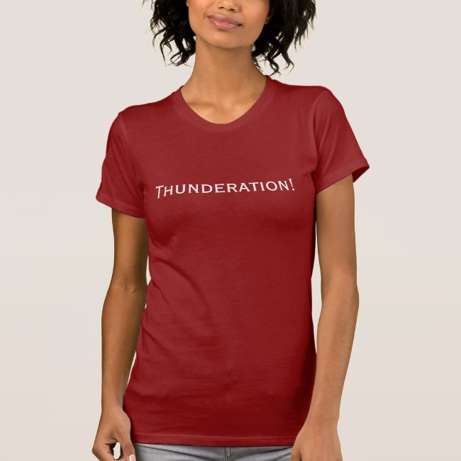 Thunderation! bold white text on dark red