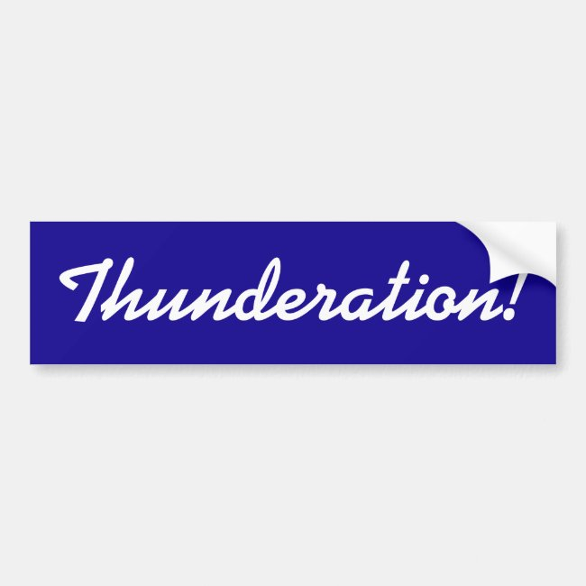 Thunderation! cursive white text on dark blue