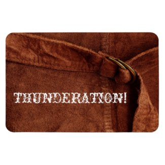 THUNDERATION! fancy white text, Brown Suede Photo Magnet
