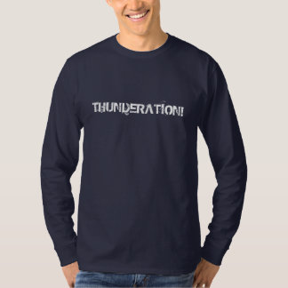THUNDERATION! grungy white text on navy T-Shirt