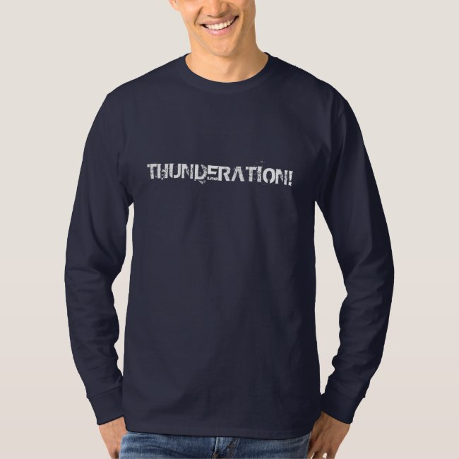 THUNDERATION! grungy white text on navy