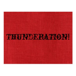THUNDERATION! old-timey font on Red Linen Photo Postcard