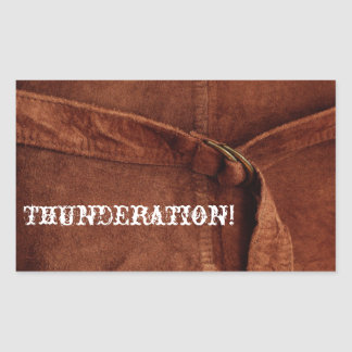 THUNDERATION! old-timey white font on Suede Photo Rectangular Sticker